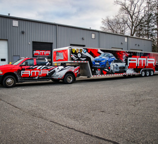 AMR Performance Dodge Ram 3500 & 48 ft trailer receives a matching custom race livery wrap. The Ultimate Race RIG!!