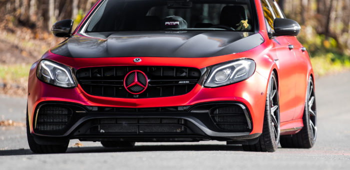 AMR MERCEDES-BENZ E63S AVERY SATIN RED CHROME | CARBON WRAP | CERAMIC PRO